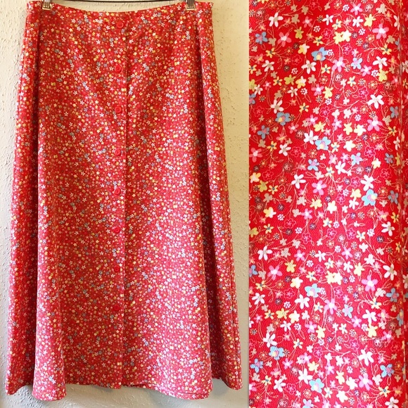 Christopher & Banks Dresses & Skirts - Christopher & Banks Red Floral Print Midi Skirt